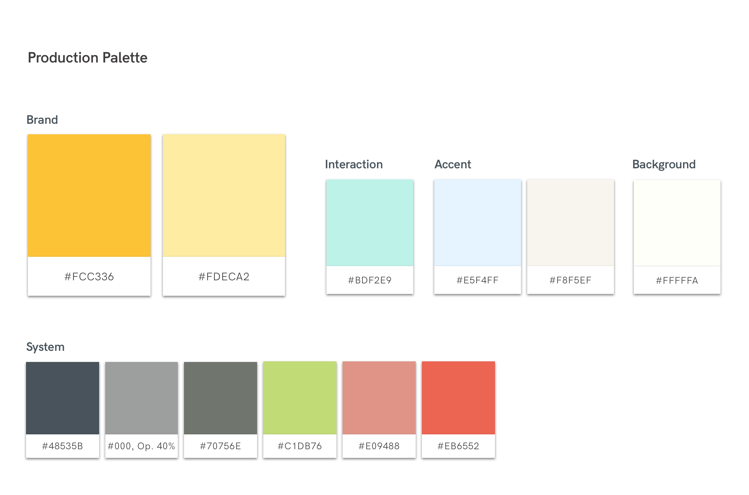 Production Colour Palette
