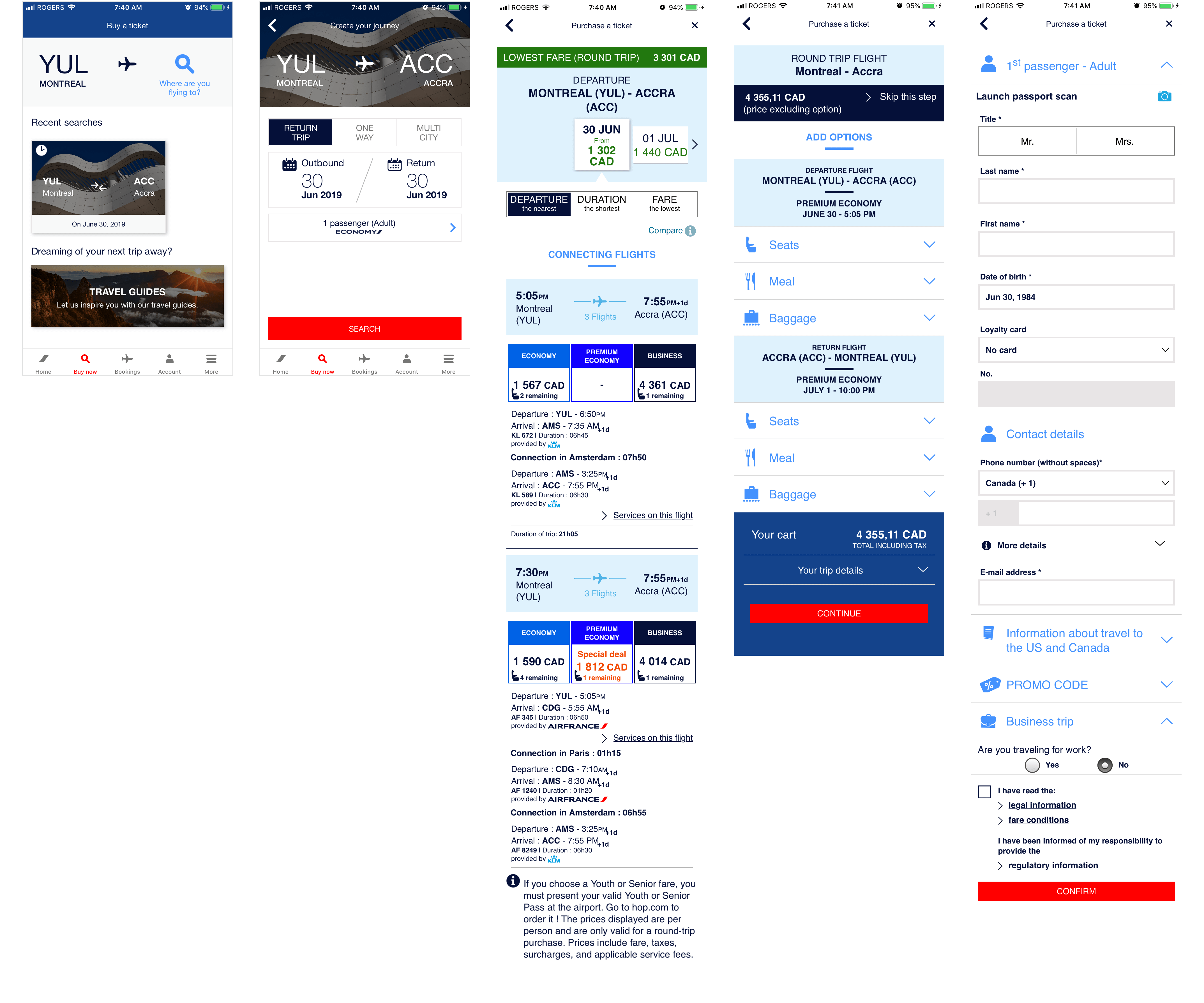Air France Task Flow Screens Evaluated
